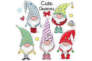 Set of Cute Cartoon Gnomes