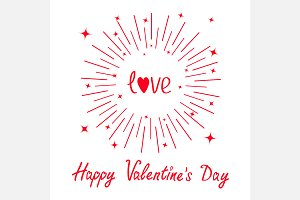 Happy Valentines day Love text Star