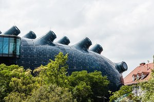 Low angle view of Kunsthaus in Graz