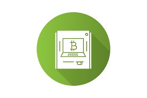 ATM machine with bitcoin sign flat design long shadow glyph icon
