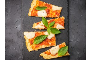 homemade cauliflower pizza crust with mozarella