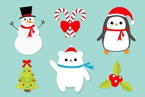 Merry Christmas icon set.
