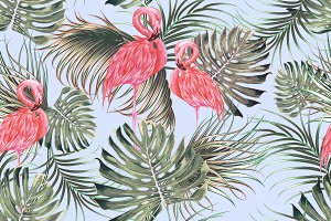 Tropical leaves,flamingos pattern