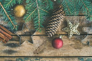 Christmas or New Year holiday flat-lay with pine cones