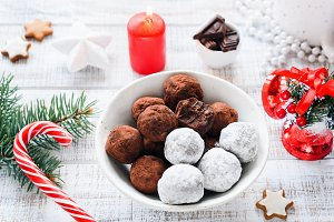 Christmas sweets chocolate truffles