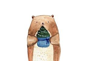 Cute bear holding Christmas spruce