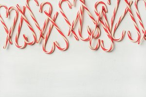 Christmas holiday candy cane pattern, texture and background, copy space