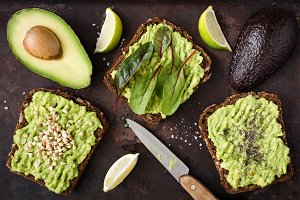 Avocado toasts for vegan breakfast