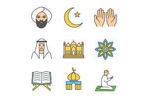 Islamic culture color icons set