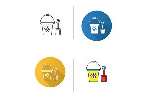 Children bucket and shovel icon