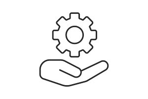 Open hand with cogwheel linear icon