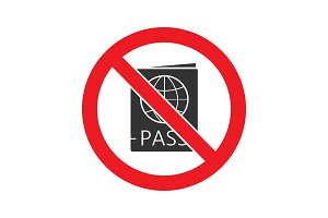 Forbidden sign with passport glyph icon