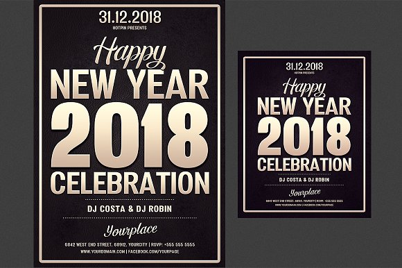 New Year Party Flyer Template Flyer Templates Creative Market – New Year Poster Template