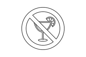 Forbidden sign with cocktail linear icon