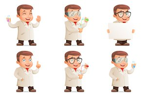 Retro 3d Scientist Young Cute Test-t
