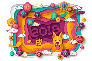 Chinese New Year Greeting Card with Paper cut Frame