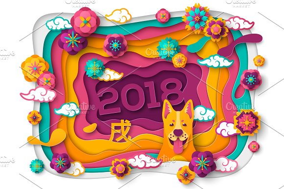 chinese new year greeting card with paper cut frame illustrations