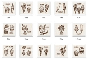 Set of 65 ice cream vectors bundle