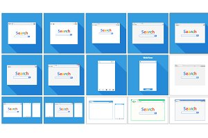 Set of Flat blank browser windows