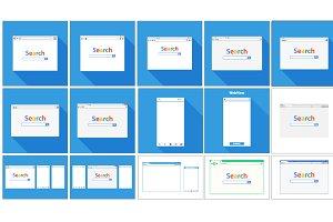 Set of Flat blank browser windows