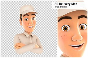 3D Delivery Man with Arms Crossed