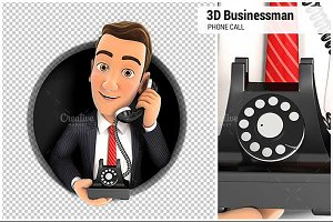 3D Businessman Making Phone Call