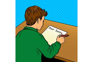 Kid writes to Santa Claus pop art vector