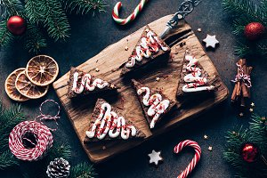 Chocolate brownies with candy canes