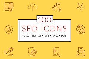 100 SEO line icons
