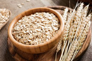 Rolled oats or oat flakes and golden