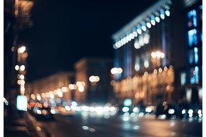 Blurred city at night. Bokeh