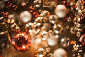 Bokeh. Christmas abstract background with colorful bokeh