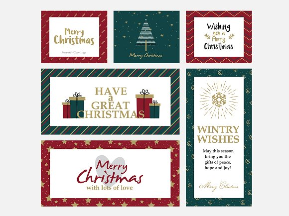 Christmas And New Year Greeting Card Templates Creative Market