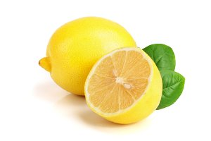 lemon and half with leaf isolated on white background