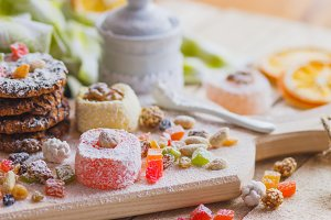 East sweets with fruits, nuts and sugar powder