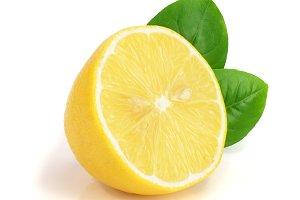 lemon half with leaf isolated on white background