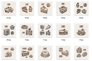 Set of 27 cake cookie vectors bundle