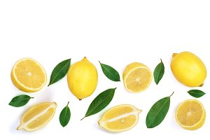 lemon isolated on white background with copy space for your text. Flat lay, top view