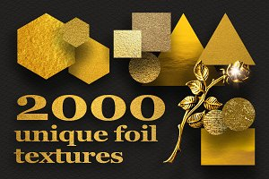 2000 unique foil gold metal textures