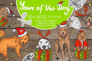 "Vector collection ""Year Of The Dog"""