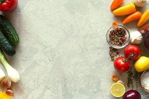 Organic food background. Vegetables on the table