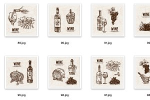 Set of 12 wine vectors set bundle