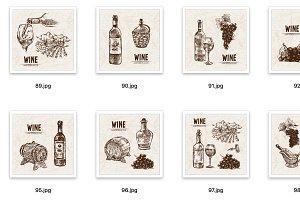 Set of 12 wine vectors set bundle