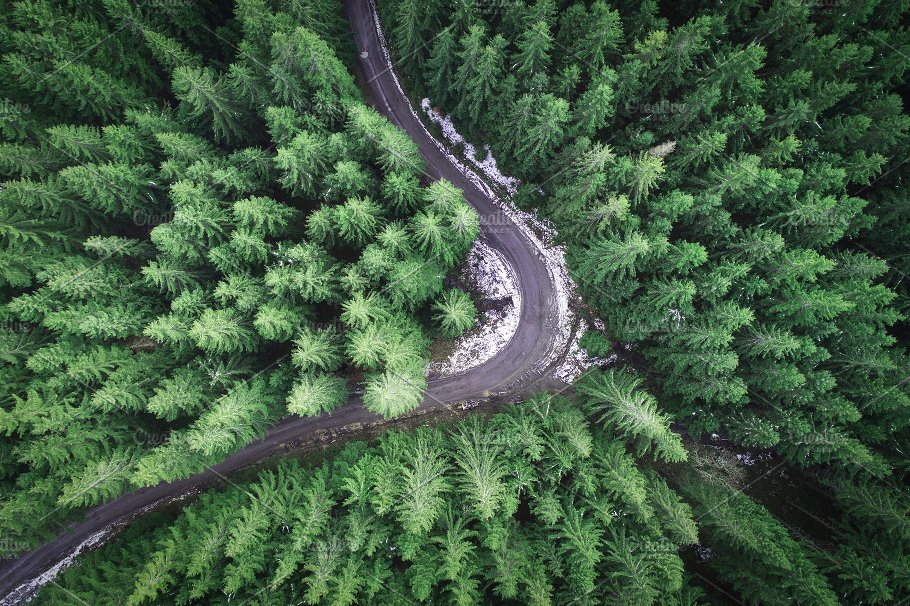 Empty Road In A Forest From Drone Nature Photos Creative Market