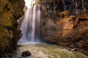 Waterfall in Johnston Canyon, Banff National Park, Canada