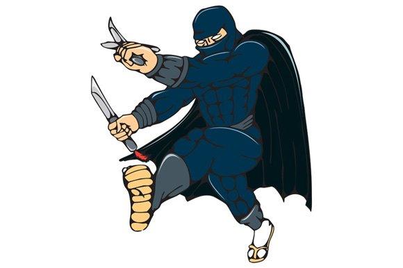 Ninja Masked Warrior Kicking Cartoon