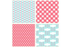 Set of cute retro primitive seamless patterns with hearts, polka dots and gingham