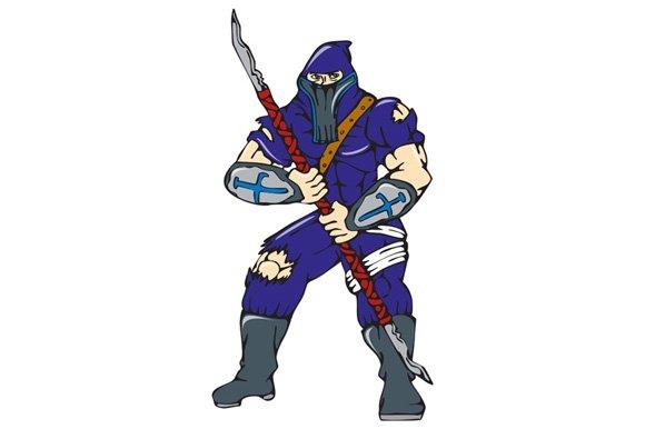 Ninja Masked Warrior Spear Cartoon