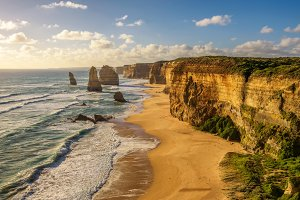 Sunset over The Twelve Apostles  in Victoria, Australia