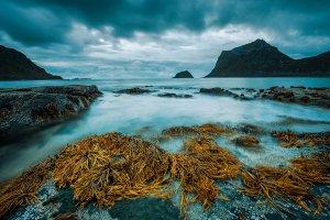 Haukland beach on Lofoten islands in Norway